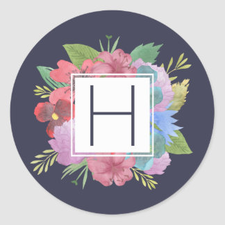 Wildflower Bouquet Navy Monogram Round Sticker