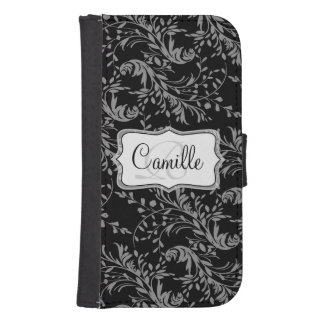 Wildflower damask black white cell flap wallet phone wallets