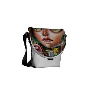 WildFlower Faerie Nymph Pop Surrealism Messenger Messenger Bag