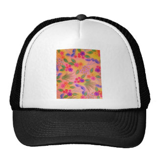 WILDFLOWER FANCY 2 - Cheerful Pink Lovely Floral Mesh Hats