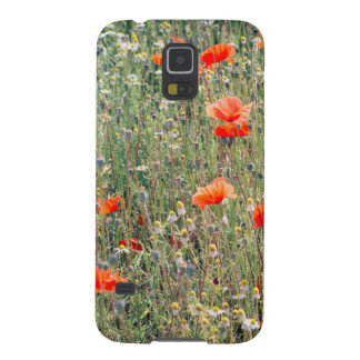 Wildflower Field and Red Poppies Blooming Galaxy S5 Covers