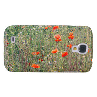 Wildflower Field and Red Poppies Blooming Galaxy S4 Case