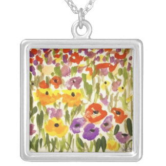 Wildflower Fields Square Pendant Necklace