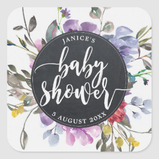 wildflower floral baby shower sticker favours