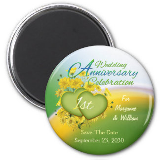 Wildflower Hearts 1st Wedding Anniversary Party 6 Cm Round Magnet