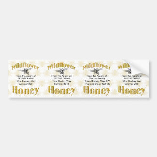 Wildflower Honey Jar Labels - 4 in One Sticker Bumper Sticker