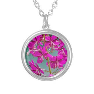wildflower in the meadow round pendant necklace