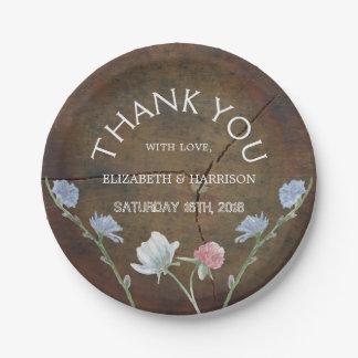 Wildflower Oak Wood Wedding Paper Plate