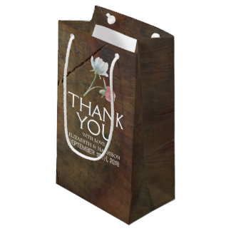 Wildflower Oak Wood Wedding Small Gift Bag