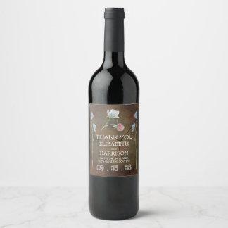 Wildflower Oak Wood Wedding Wine Label