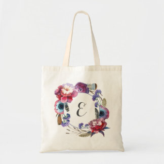 Wildflower Peony Floral with Feathers | Monogram