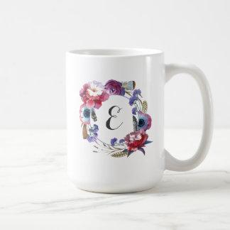Wildflower Peony Floral with Feathers | Monogram Coffee Mug