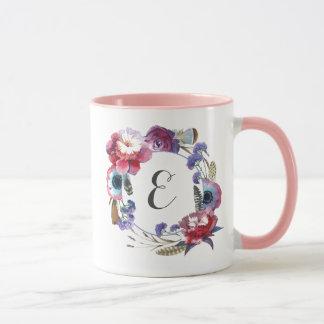 Wildflower Peony Floral with Feathers | Monogram Mug