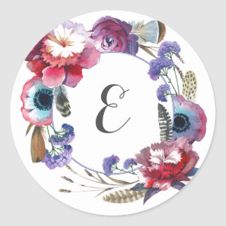 Wildflower Peony Floral with Feathers | Monogram Round Sticker