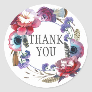 Wildflower Peony Floral with Feathers | Thank You Round Sticker