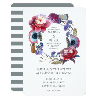 Wildflower Peony Floral with Feathers | Wedding Card