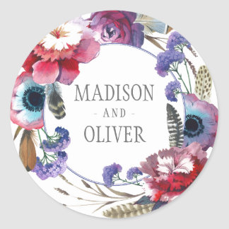 Wildflower Peony Floral with Feathers | Wedding Round Sticker