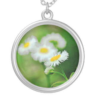 Wildflower photo sterling silver charm necklace