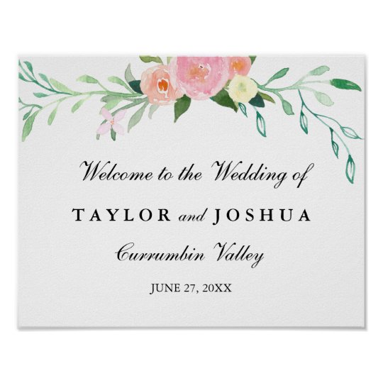 Wildflower Watercolor Welcome Wedding Sign