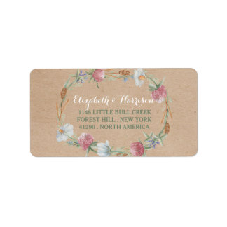 Wildflower Wreath On Kraft Country Wedding Address Label
