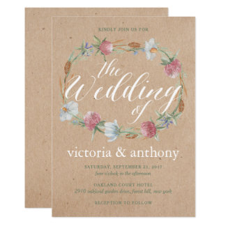 Wildflower Wreath On Kraft Country Wedding Card