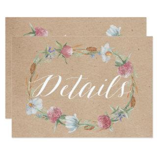 Wildflower Wreath On Kraft Country Wedding Detail Card