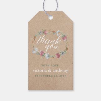 Wildflower Wreath On Kraft Country Wedding Gift Tags