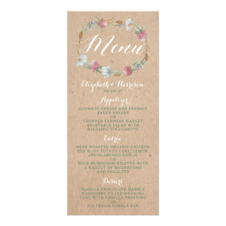Wildflower Wreath On Kraft Country Wedding Menu Custom Rack Cards
