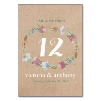 Wildflower Wreath On Kraft Country Wedding Number Card
