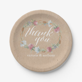 Wildflower Wreath On Kraft Country Wedding Paper Plate