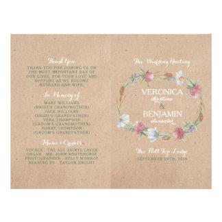 Wildflower Wreath On Kraft Country Wedding Program Flyer