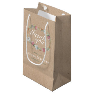 Wildflower Wreath On Kraft Country Wedding Small Gift Bag