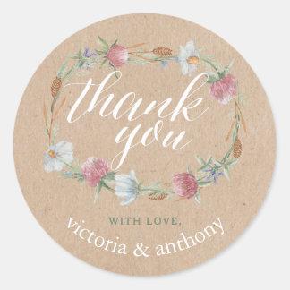 Wildflower Wreath On Kraft Country Wedding Thank Classic Round Sticker