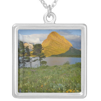Wildflowers along Swiftcurrent Lake in the Many Square Pendant Necklace
