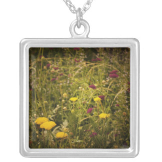 Wildflowers Along the High Line Park Square Pendant Necklace
