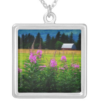 Wildflowers and Country Barn Personalized Necklace