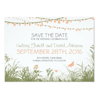wildflowers and hanging lights save the date cards 11 cm x 16 cm invitation card