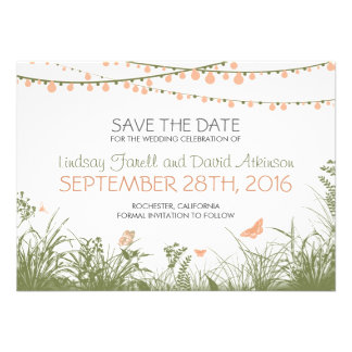 wildflowers and hanging lights save the date cards