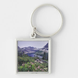 Wildflowers and Hidden Lake, Shrubby Silver-Colored Square Key Ring
