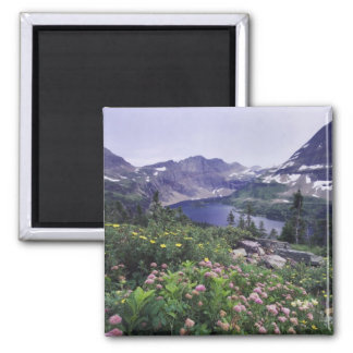 Wildflowers and Hidden Lake, Shrubby Square Magnet