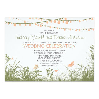 wildflowers and string lights wedding invitation
