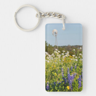 Wildflowers And Windmill In Texas Hill Country Double-Sided Rectangular Acrylic Key Ring