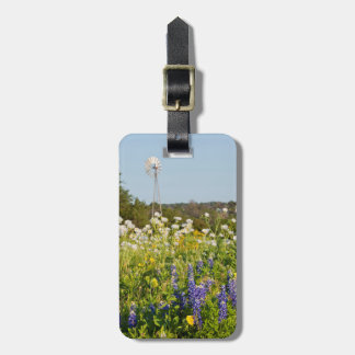 Wildflowers And Windmill In Texas Hill Country Luggage Tag
