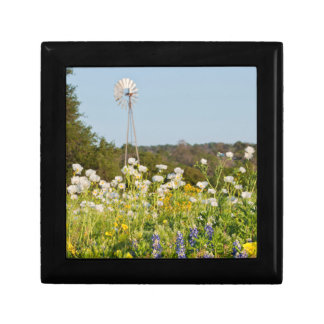 Wildflowers And Windmill In Texas Hill Country Small Square Gift Box