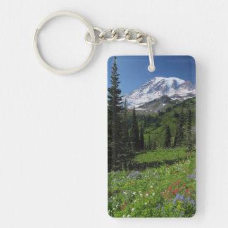 Wildflowers at Mount Rainier Double-Sided Rectangular Acrylic Key Ring