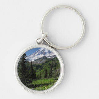 Wildflowers at Mount Rainier Silver-Colored Round Key Ring