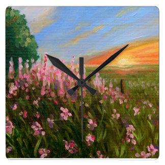"""Wildflowers at twilight"" fine art clock"