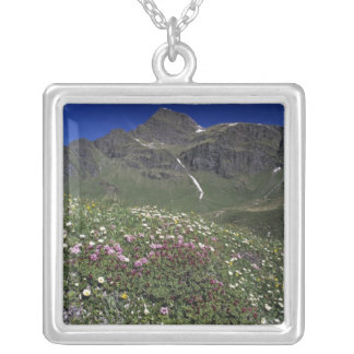 Wildflowers, blooming, Alps, Switzerland Square Pendant Necklace