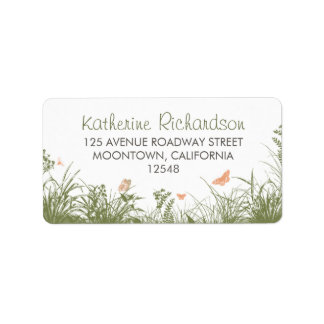 wildflowers grass white address labels