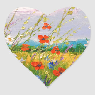 Wildflowers Heart Sticker